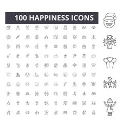 happiness line icons signs set outline vector image