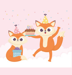 Happy day little foxes with cake and gift box vector