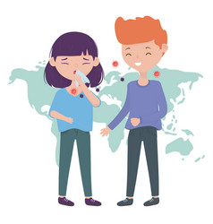Health online sick girl with cough infect a boy vector