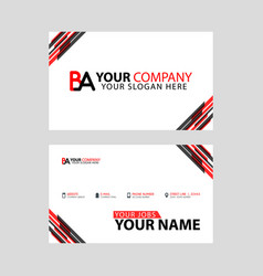 Horizontal name card with ba logo letter and vector