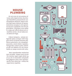 House plumbing poster infographics of vector