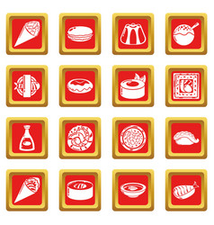 japan food icons set red square vector image