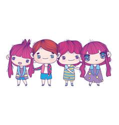 kids cute little girls and boys cartoon vector image