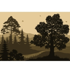 Landscape Trees Birds and Mountains vector image
