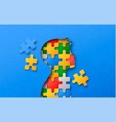 little boy colorful puzzle head paper cut concept vector image