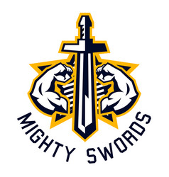 Logo mighty swords muscular arms sport and vector