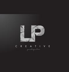 Lp l p letter logo with zebra lines texture vector