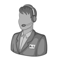 Male translator on phone icon vector image