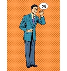 Man businessman says okay business success concept vector