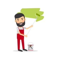 Man make repairs painting wall vector
