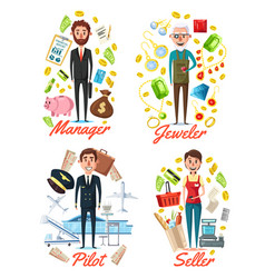 manager jeweler pilot and seller profession vector image