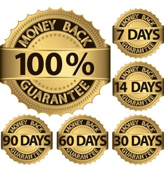 Money back guarantee golden label set vector image