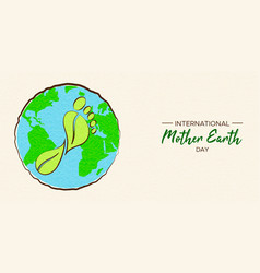 mother earth day card of carbon footprint concept vector image