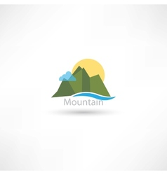 Mountains symbol with sun and cloud vector