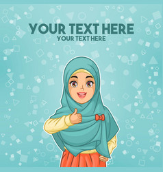 Muslim woman wearing hijab giving a thumbs up vector