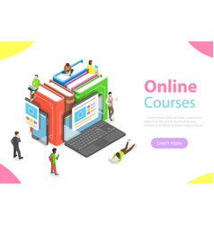 Online courses flat isometric concept vector