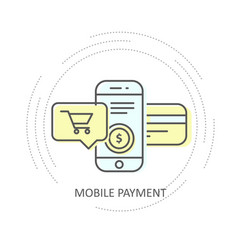 online mobile payment with credit card icon vector image