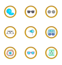 Ophthalmology equipment icons set cartoon style vector