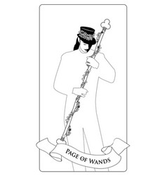 outlines page or knave of wands with top hat vector image