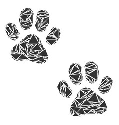 Paw footprints collage of triangles vector