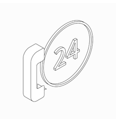 Phone calls 24 hours icon isometric 3d style vector image