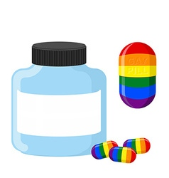 Pills with LGBT flag Medical bottle tablet vector image
