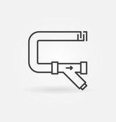 Pipe with y-filter or y strainer outline vector
