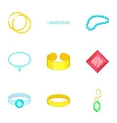 Precious jewels icons set cartoon style vector