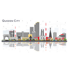 Quezon city philippines skyline with color vector