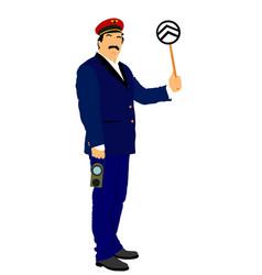 Railroader in uniform railway man traffic control vector