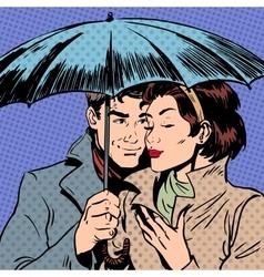 Rain man and woman under umbrella romantic vector