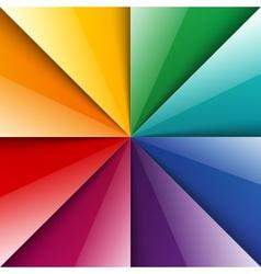 Rainbow shiny folded paper triangles background vector