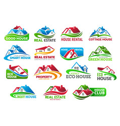 realtors real estate icons with cottage houses vector image