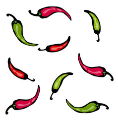 Red and green hot chilli pepper sketch vector
