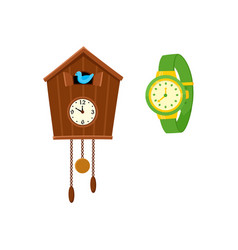 retro style cuckoo clock and modern wrist watch vector image