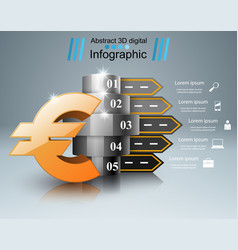 Road infographic money euro icon vector