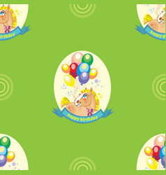 seamless pattern with pony and balloons on green vector image