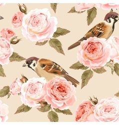 Seamless roses and birds vector