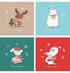 Set of flat Christmas characters vector