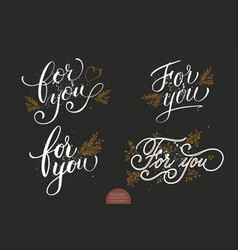 set of hand drawn lettering for you with floral vector image