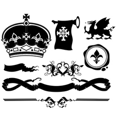 Set of ornamental heraldic elements vector