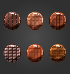 Set of round volume chocolate buttons vector