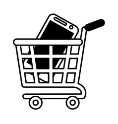 Shopping cart online mobile phone black screen vector