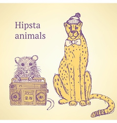 Sketch fancy animals in vintage style vector image