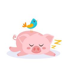 sleeping pink pig vector image
