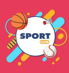 Sport club sports equipment pink background vector