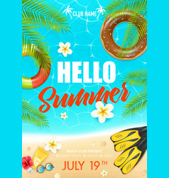 Summer beach vacation club poster vector