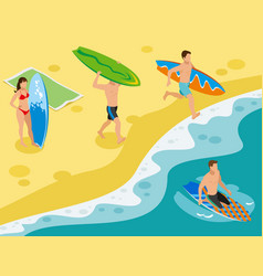 surf beach isometric composition vector image