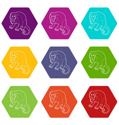 surprised monkey icons set 9 vector image