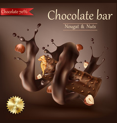 sweet chocolate bar with spiral melted chocolate vector image